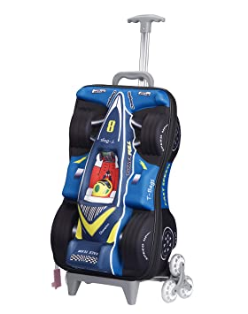 T Bags 3D Racing Car Blue Kid's Trolley Bag Overnight Luggage  CR04B