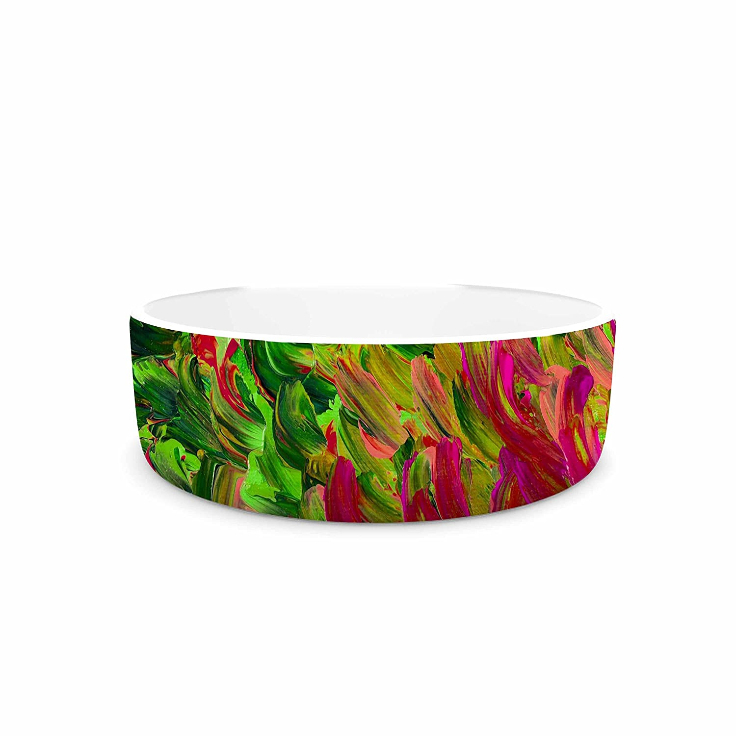 KESS InHouse EBI Emporium Watermelon Splash Green Fuchsia Pet Bowl, 7  Diameter