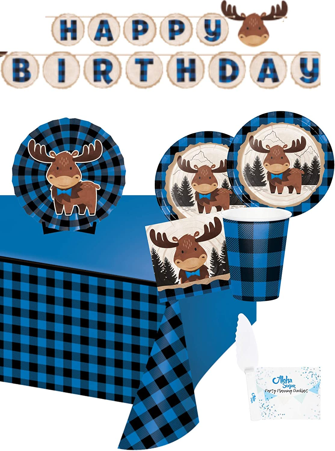Moose Party Supplies and Decorations Includes Moose Birthday Banner Buffalo Plaid Moose Party Plates and Napkins Cups for 16 People Perfect Lumberjack Birthday Party Decorations and Lumberjack Birthday Party Supplies! Tablecloth and Centerpiece
