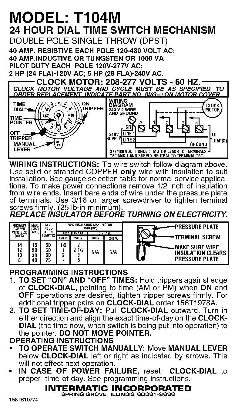 81wmwPKdbuL._SL1350_ intermatic t104m mechanical time switch mechanism only wall intermatic timer wiring diagram at edmiracle.co