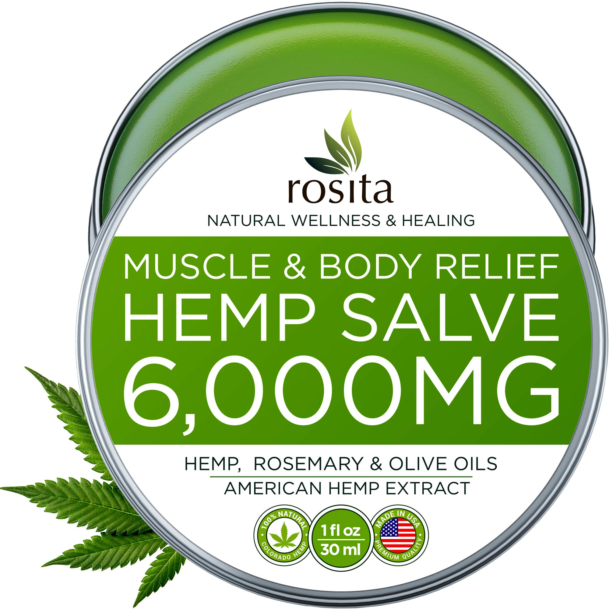 Premium Hemp Balm - Ultra Strong Natural Pain Relief - 6000mg Hemp Extract - Rosemary & Hemp Oil - Anti-Inflammatory for Joint & Muscle, Arthritis Pain - Fast Acting Hemp Salve - Made in USA - Non-GMO by ROSITA