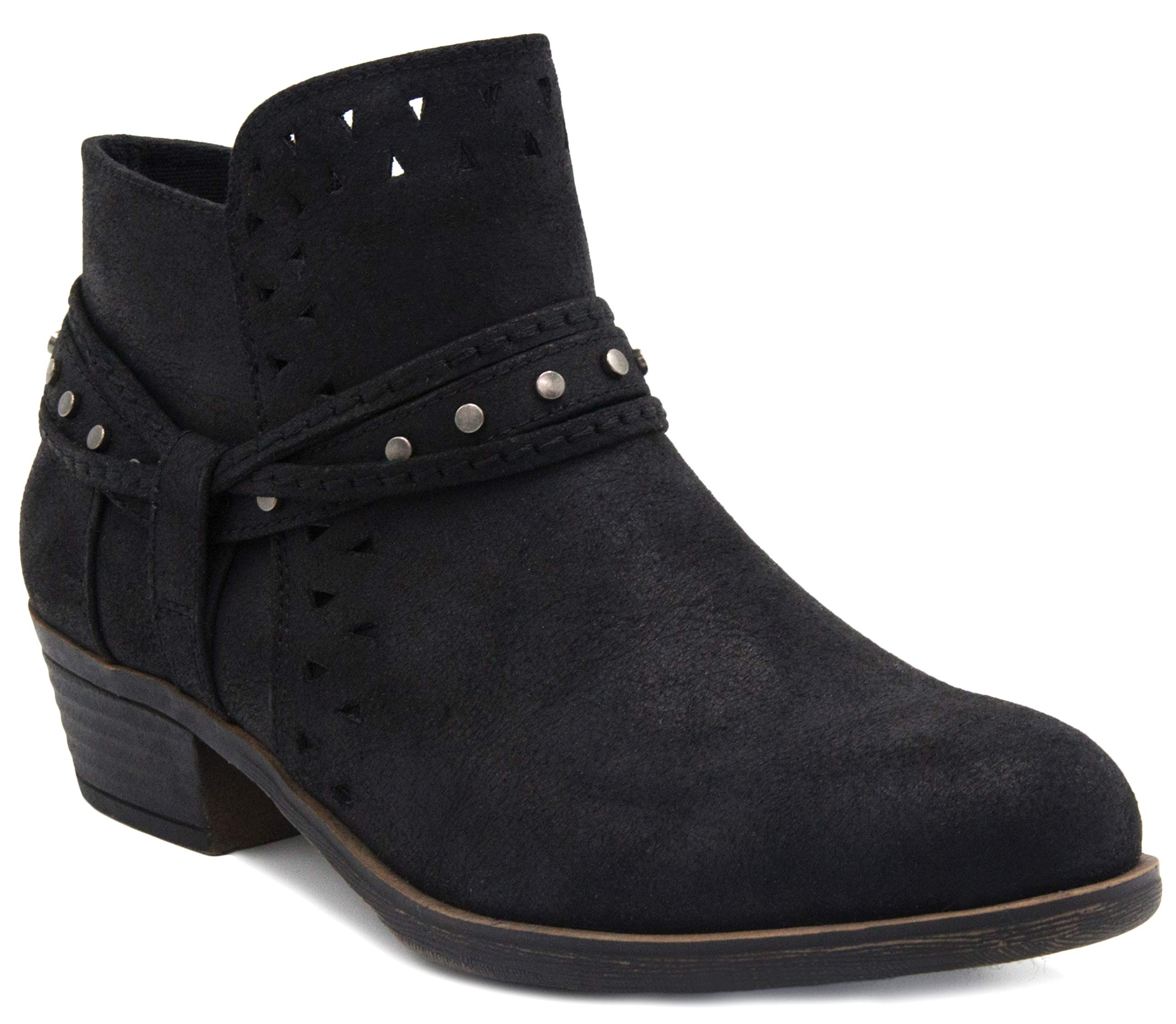 Sugar Women's Thinker Ankle Boot, Black Distress Fabric, 11 M US