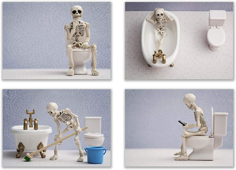 Summit Designs Skeleton Bathroom Prints - Funny Hipster Skull and Bones Wall Art Decor - Set of 4 (5 x 7) Unframed Photos