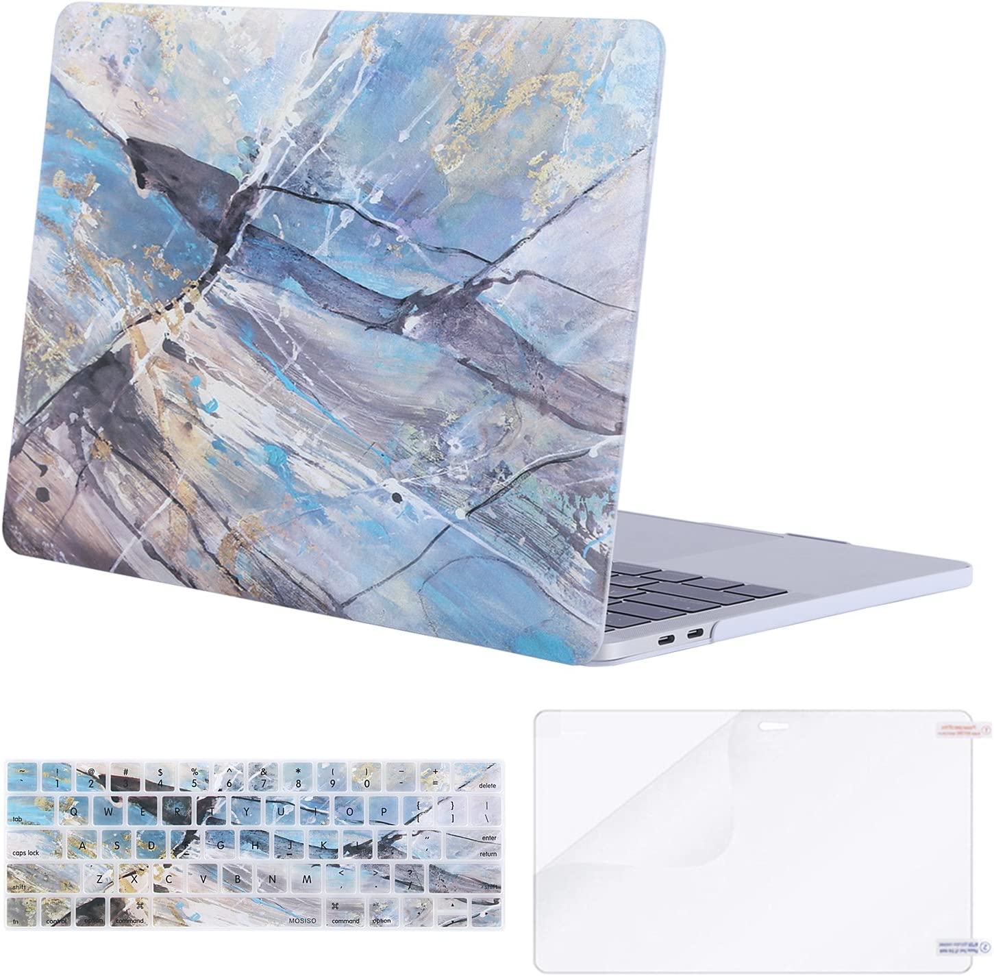 MOSISO MacBook Pro 13 inch Case 2019 2018 2017 2016 Release A2159 A1989 A1706 A1708, Plastic Pattern Hard Shell Case&Keyboard Cover&Screen Protector Compatible with MacBook Pro 13, Abstract Scrawl