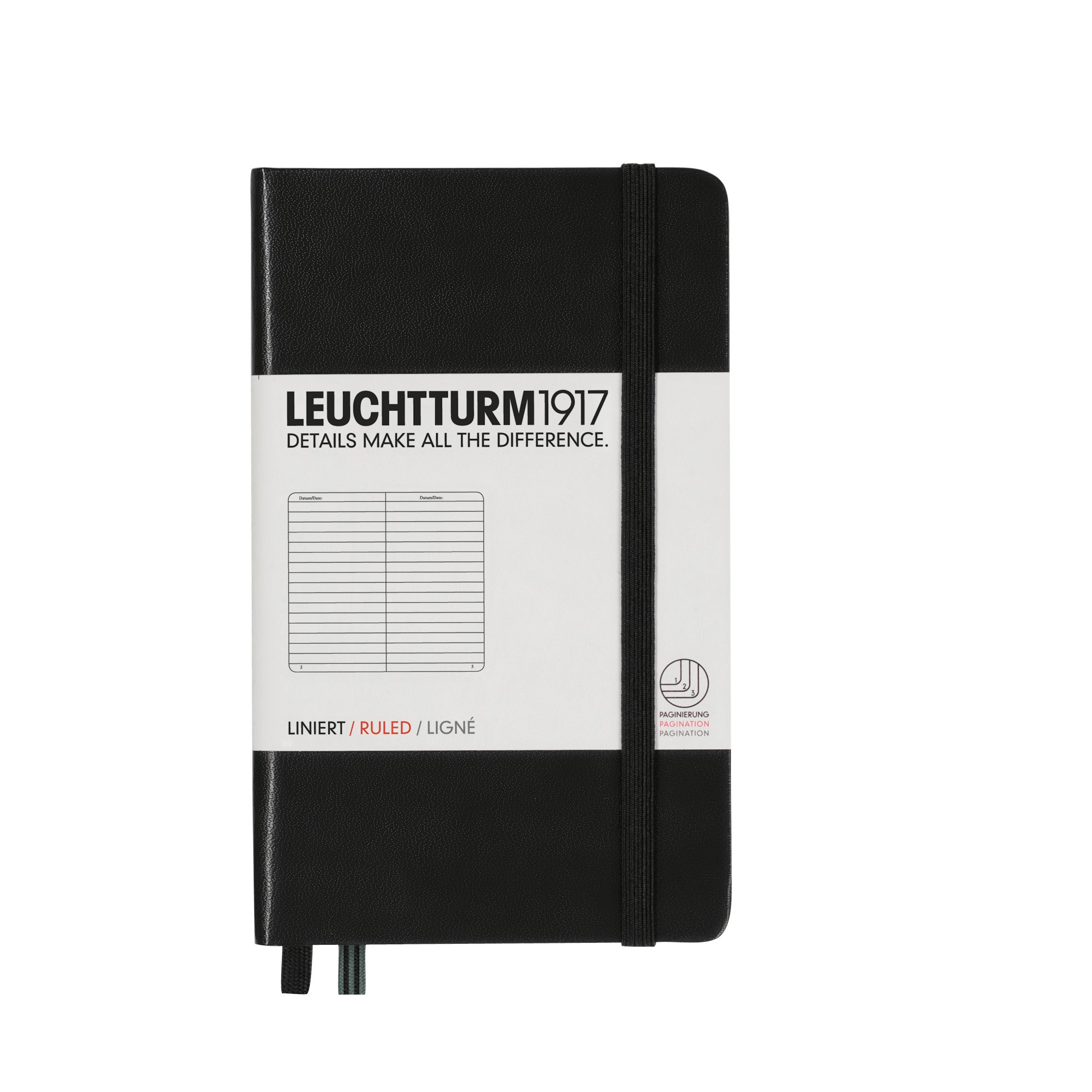 Leuchtturm1917 Classic Hardcover Ruled Pocket Notebook Black by Kikkerland (Image #1)