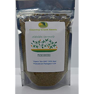 Organic Alfalfa Sprouting Seed, NON GMO -12 Oz -Country Creek LLC Brand - High Sprout Germination- Edible Seeds, Gardening, Hydroponics, Growing Salad Sprouts, Planting, Food Storage & More : Garden & Outdoor