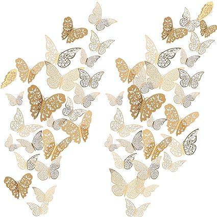 Bememo 72 Pieces 3D Butterfly Wall Decals Sticker Wall Decal Decor Art  Decorations Sticker Set 3