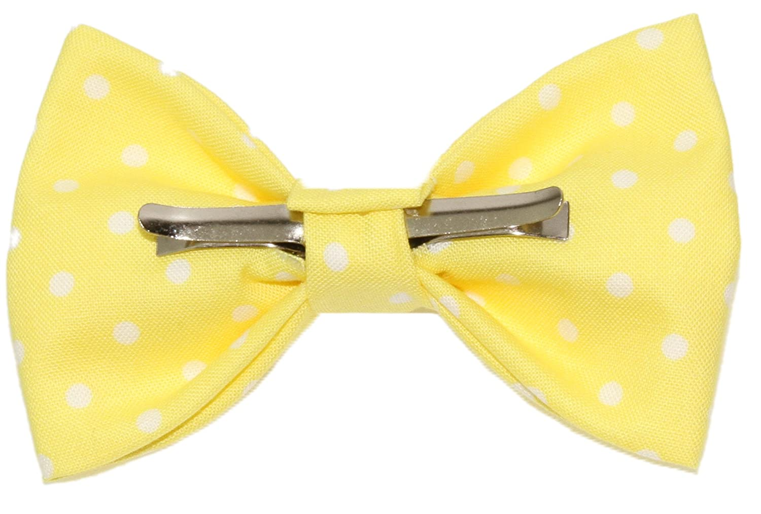 Boys Yellow With White Dots Clip On Cotton Bow Tie Bowtie by amy2004marie
