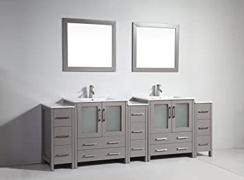 96 inch double vanity. Vanity Art 96 inch Double Sink Bathroom Set with Ceramic Top  Free Mirror VA3030
