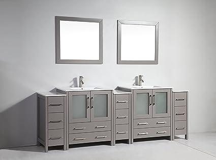 amazon com vanity art 96 inch double sink bathroom vanity set rh amazon com 96 inch bathroom vanity with makeup area 96 inch white vanity