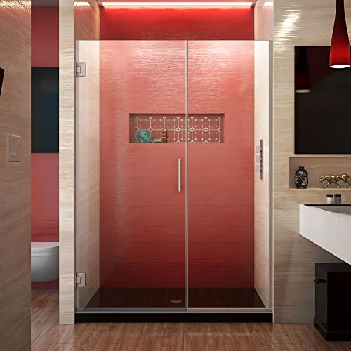 DreamLine Unidoor Plus 48-48 1 2 in. W x 72 in. H Frameless Hinged Shower Door in Brushed Nickel, SHDR-244807210-04