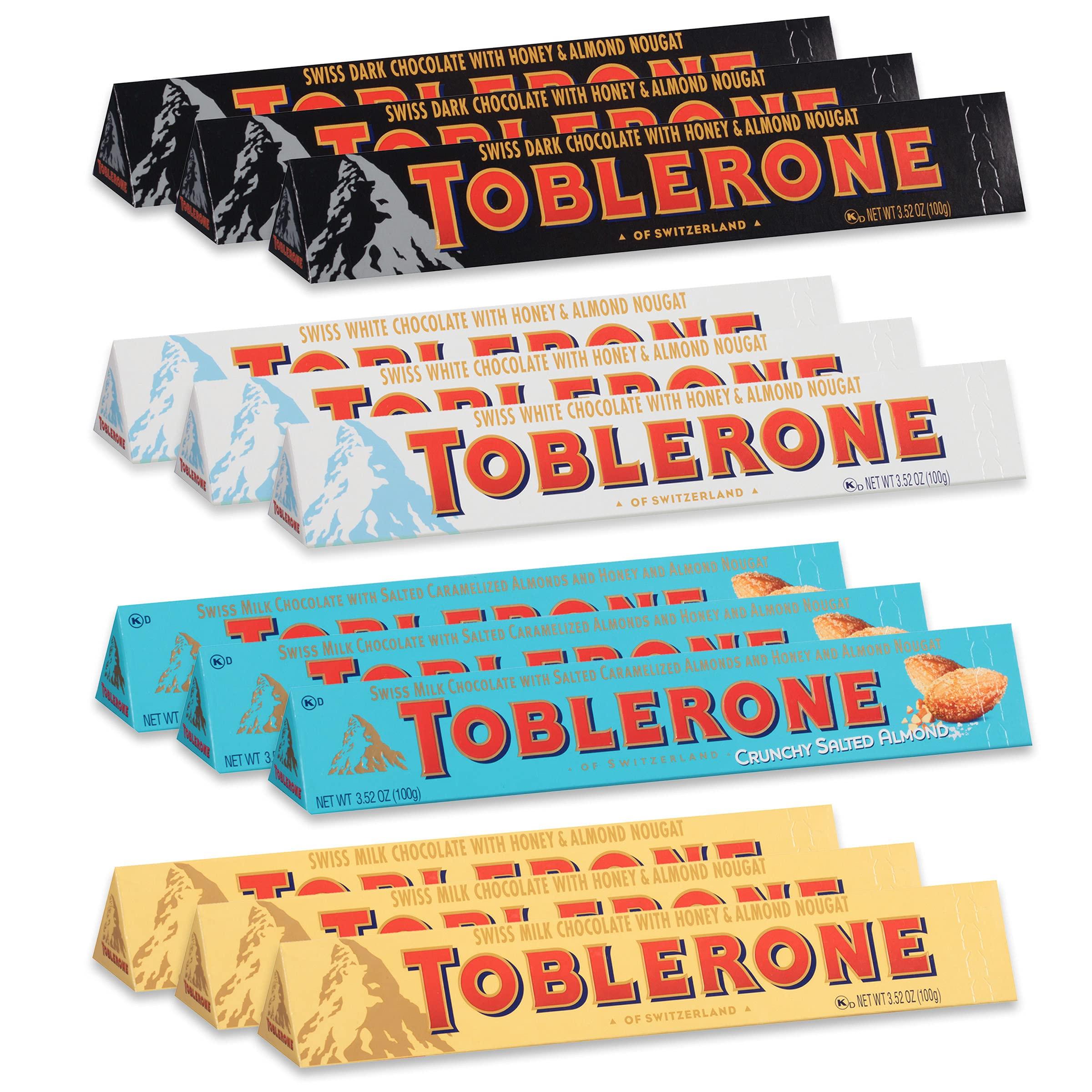 Toblerone Swiss Chocolate Variety Pack, Milk Chocolate, Dark Chocolate, White Chocolate & Crunchy Salted Caramelized Almond, 12 - 3.52 oz Bars