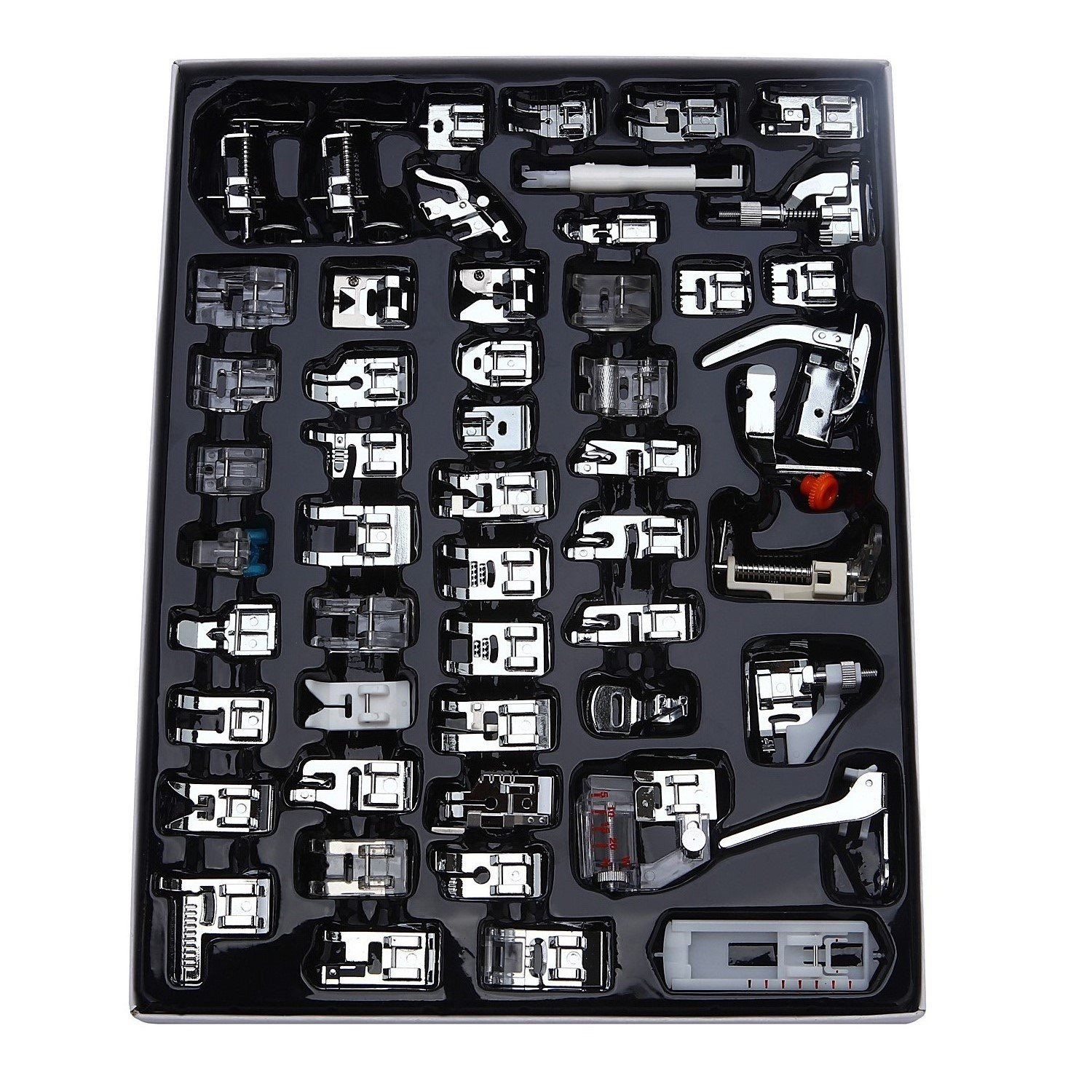 62 Pieces Elna New Home Toyota Simplicity Aiskaer Professional 62pcs Sewing Machine Presser Feet Set for Brother Singer Babylock Janome Kenmore,