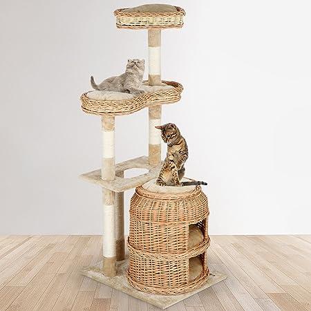 Árbol para Gatos | 60x60x135 cm, con Cestas Extraíbles de 2 Pisos, 3 Plataformas, Estable Poste de Rascado de Sisal, Beige | Rascador con Nidos, Escalador para Gatos, Arañazo Juguete Sisal: Amazon.es: Hogar