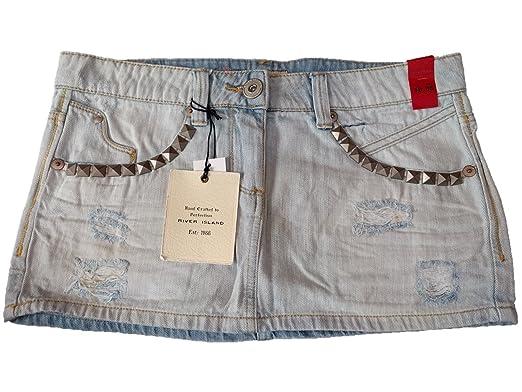e85cfdf0e River Island Light Blue Denim Stud Mini Skirt Size 10: Amazon.co.uk:  Clothing