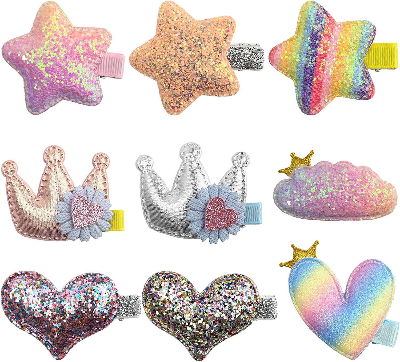 9pinzas para el cabello para niñas lindas estrellas/corona/corazón/nubes, pasadores de metal para bebés accesorios brillantes para el cabello con pinzas de cocodrilo para niños pequeños