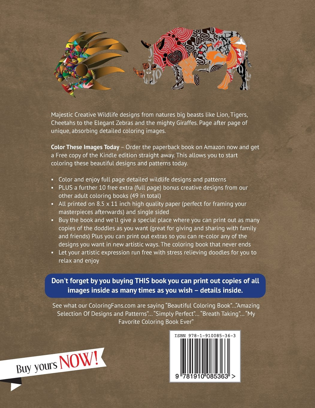 Wildlife Coloring Book Forest Elephants Giraffes African Big Cats And More Natures Art Books Designed For Artists Adults