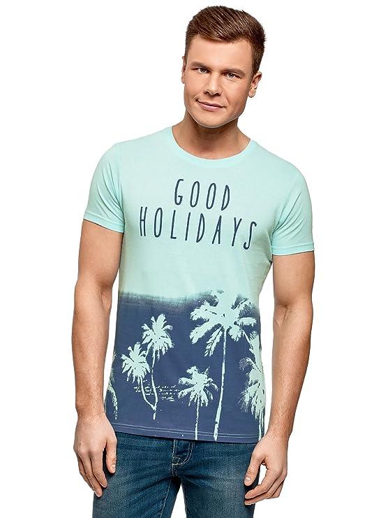 oodji Ultra Hombre Camiseta con Estampado de Playa, Turquesa, ES 46-48 / S: Amazon.es: Ropa y accesorios