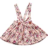 e0006512c88 Baby Girl Floral Brace Suspender Skirt Infant Toddler Ruffled Casual Strap  Sundress Summer Outfit Clothes