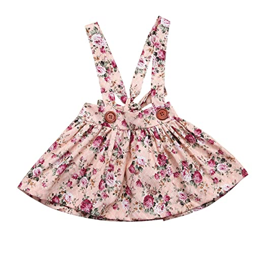 0a7432e7c782 Mornbaby Baby Girl Floral Brace Suspender Skirt Infant Toddler Ruffled  Casual Strap Sundress Summer Outfit Clothes