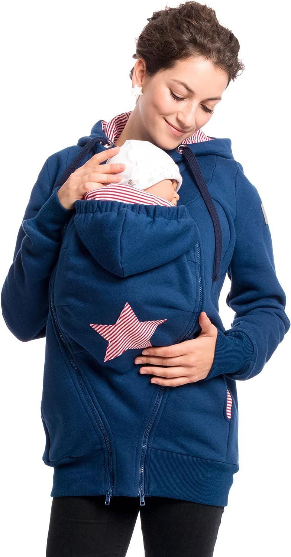 3in1 Tragejacke Baby aus Baumwoll-Sweatstoff Viva la Mama Cassio Umstandsjacke f/ür Mama