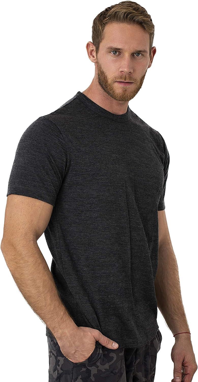 Heathered Black, Small Merino.tech 100/% Organic Merino Wool Lightweight Mens T-Shirt