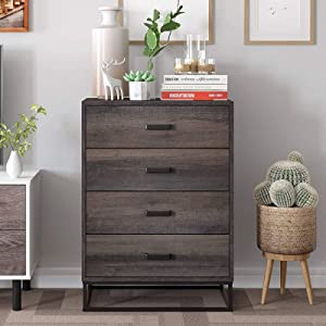 HOMECHO Chest of Drawers, Modern Dresser with 4 Drawers, Wood Drawer Cabinet for Home and Office, Easy Assembly, Dark Brown