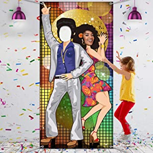 70's Dance Party Decoration 70's Photo Door Banner Backdrop Props, Large Photo Backdrop for 70's Theme Party Decor Disco Theme Party Supplies with Ropes