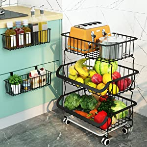 1Easylife 3 Tier Metal Wire Baskets - Fruit Vegetable Storage Organizer with Wheels for Kitchen