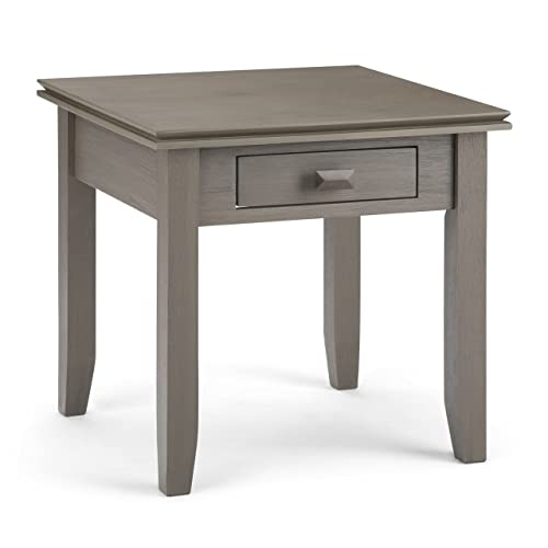 Simpli Home AXCHOL002-FG Artisan Solid Wood 21 inch Wide Square Contemporary End Side Table in Farmhouse Grey