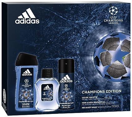5714ca58526a Adidas set 3 prodotti UEFA 4 campioni Edition Eau de Toilette 100 ml + Deodorante  150 ml + Gel Doccia 250 ml: Amazon.it: Bellezza