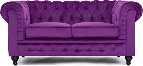 Classic Modern Scroll Arm Velvet large Love Seat Sofa in Colors Purple, Red, Black, Grey Purple