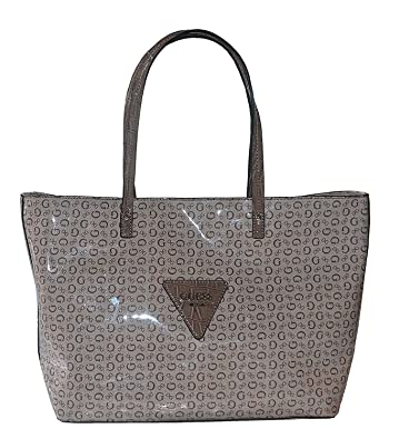 Amazon.com  GUESS Signature Patent Liberate Tote Bag Shoulder Handbag Purse  Brown  Shoes 181cdc51685ce