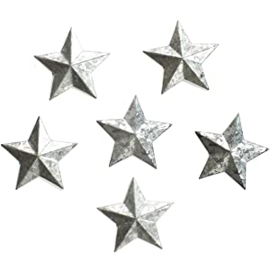 GRILA GRAY STAR FRIDGE MAGNETS SET - 6 small rustic galvanized barn star magnets ideal for refrigerators metal memo notice boards your to-do shopping list reminder note kids art photos. Stay organized