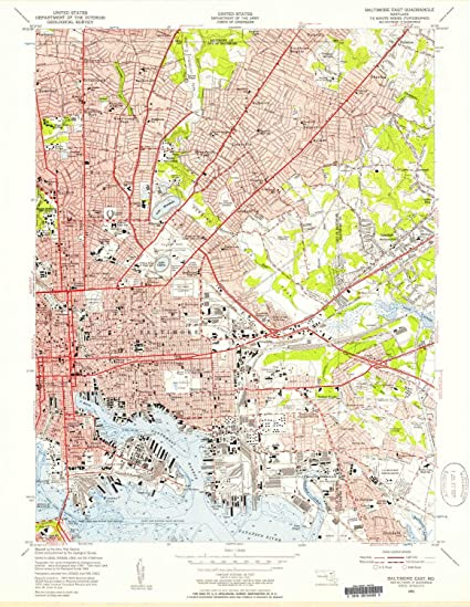 Amazon.com : YellowMaps Baltimore East MD topo map, 1:24000 Scale ...