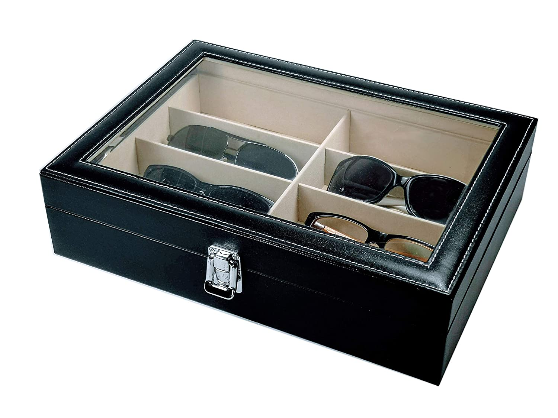 PU Black MaestroRelojero Vitrina Guarda Gafas para 8