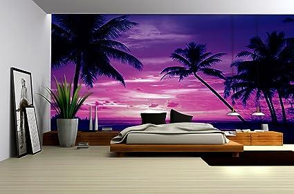 Purple Sunset Beach Palms Wallpaper Mural Amazon Rooms