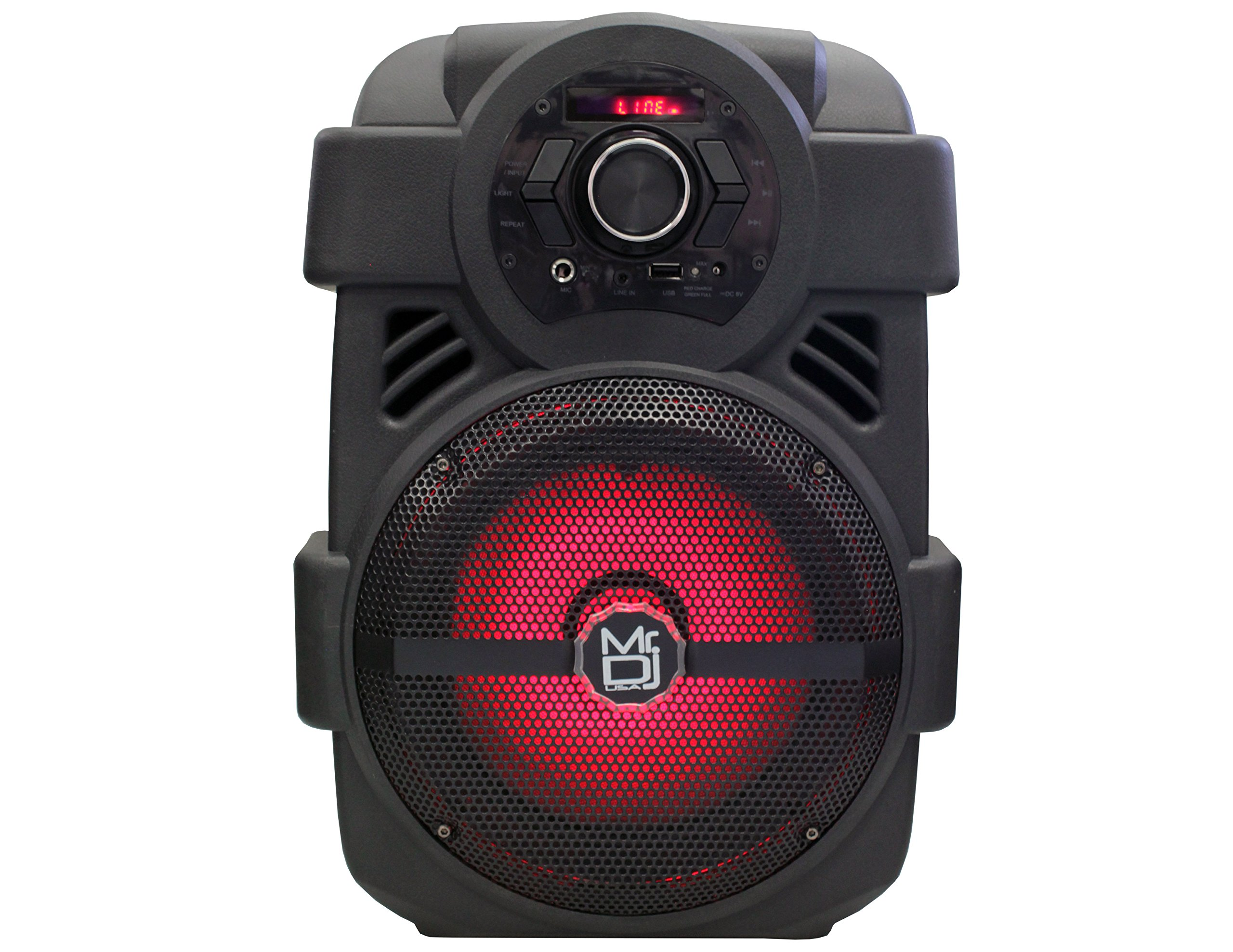 Mr. Dj PSE80BT 8'' Portable Active Speaker with Rechargeable Battery 1200W P.M.P.O, 1''