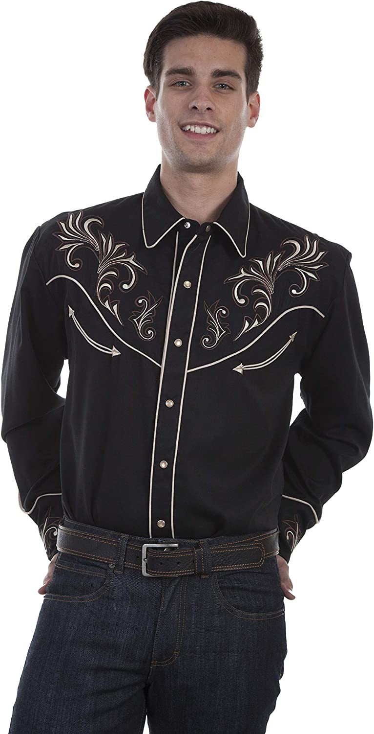 Scully Mens Embroidered Long Sleeve Western Shirt Black Small