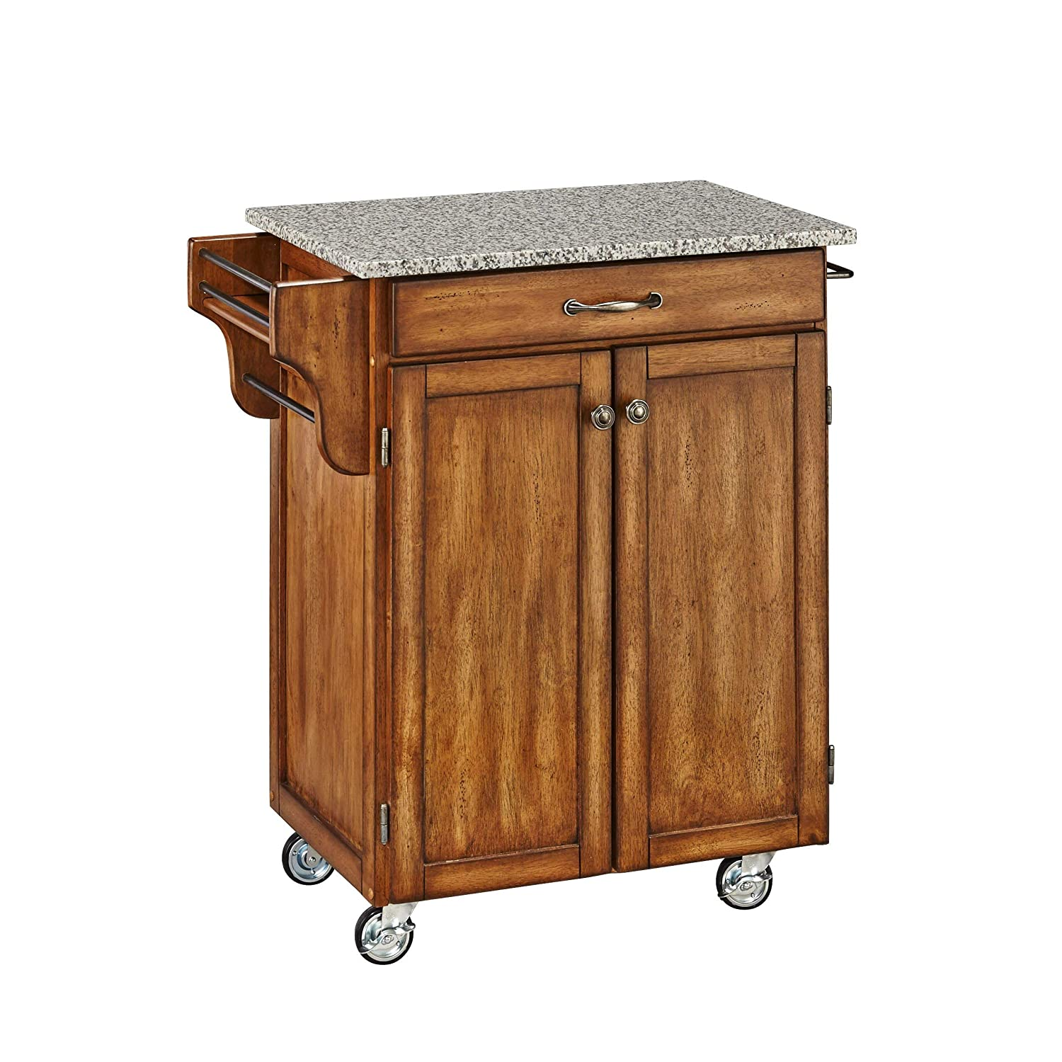 Create-a-Cart Warm Oak Kitchen Cart with Salt and Pepper Granite Top by Home Styles