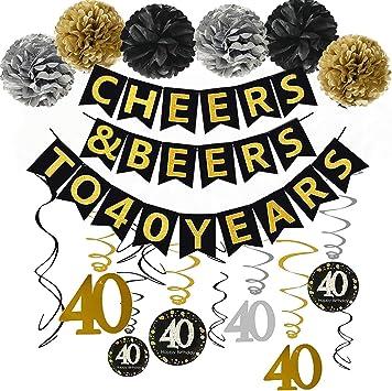 Amazon.com: Kit de decoración para fiesta de 40 cumpleaños ...