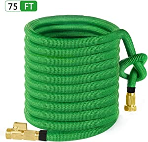 "MoonLa 75ft Garden Hose, All New Expandable Water Hose with 3/4"" Solid Brass Fittings, Extra Strength Fabric - Flexible Expanding Hose with Free Storage Bag"