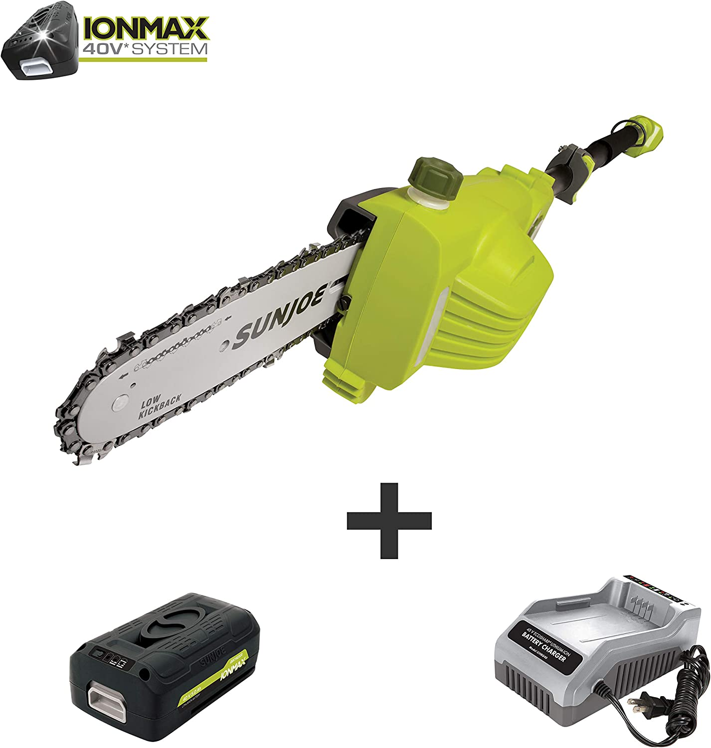 Sun Joe iON8PS2-LT 8-Inch Amp 40V Cordless Multi-Angle Pole Chain Saw, 8 , Kit w 2.5-Ah Battery Quick Charger
