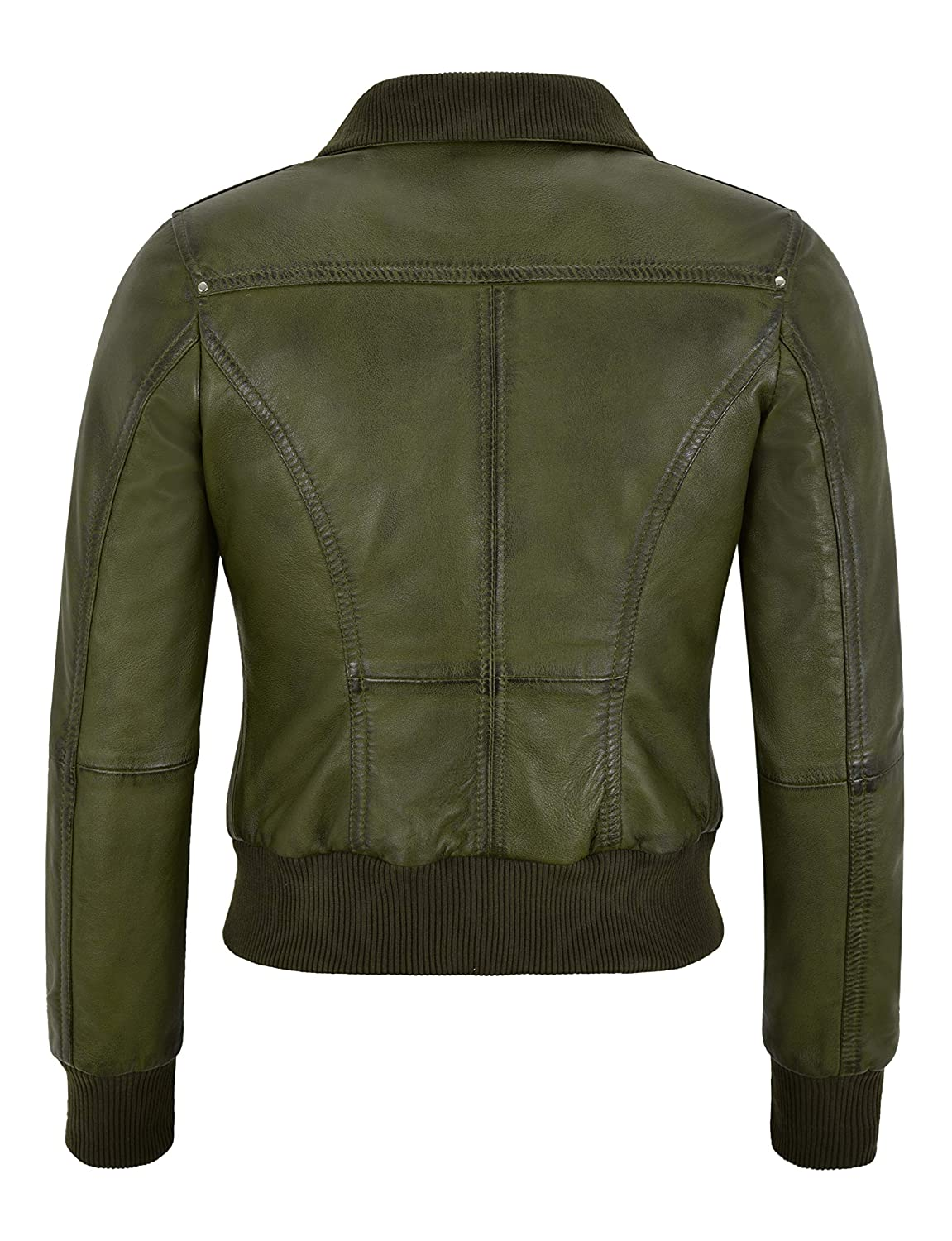 Fusion Ladies Olive Green Wax Short Bomber Biker Motorcycle Style Leather Jacket 3758