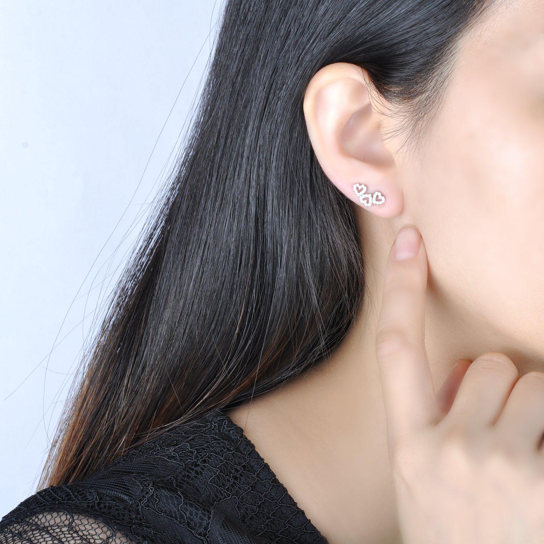 Yumilok Jewelry 925 Sterling Silver Cubic Zirconia Hollow Hearts Stud Hypoallergenic Earring for Women//Ladies//Girls