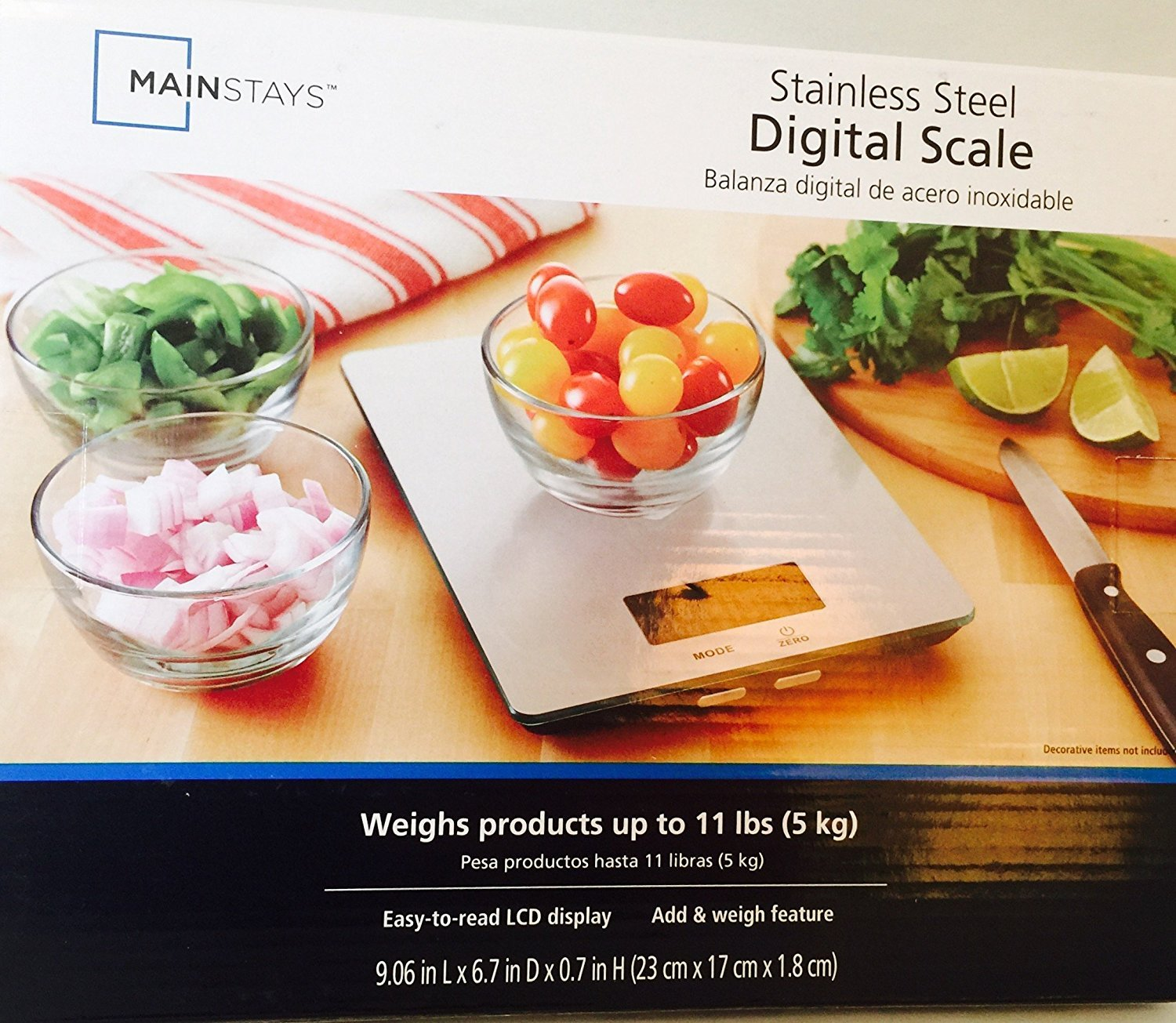 Digital Kitchen Food Scale Stainless Steel Platform With LCD Display, CO-Z 11lb / 5kg BALANZA DIGITAL DE ACERO INOXIDABLE