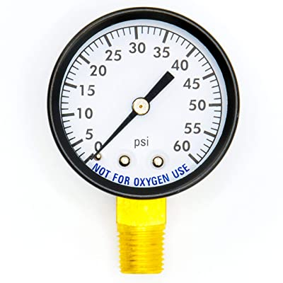 Super Pro 80960BU Pool Spa Filter Water Pressure Gauge, 0-60 PSI, Bottom Mount, 1/4-Inch Pipe Thread : Sporting Goods : Garden & Outdoor