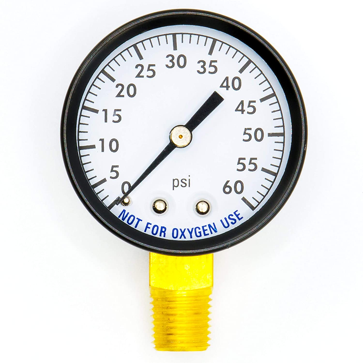 Super Pro 80960BU Pool Spa Filter Water Pressure Gauge 0 60 PSI Bottom Mount 1 4 Inch Pipe Thread