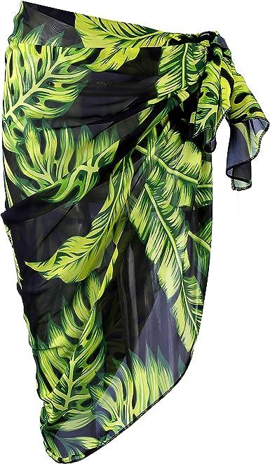 Women Bathing Bikini Swimwear Wrap Pareo Cover Up Beach Dress Sarong Hand Print