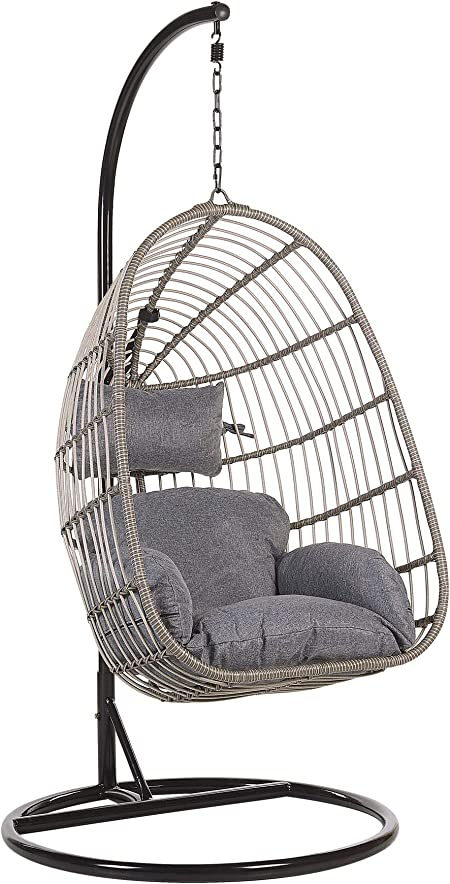 Beliani Boho Grey Rattan Hanging Chair With Metal Base Indoor Outdoor Wicker Egg Shape Casoli Beliani Amazon Co Uk Kitchen Home